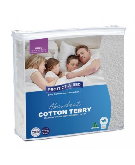 Absorbent Cotton Terry Staynew Fitted Waterproof Protector