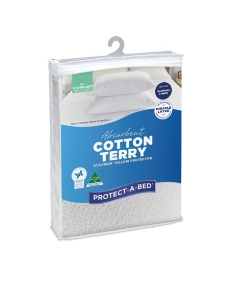 Absorbent Cotton Terry Staynew Fitted Waterproof Pillow Protectors