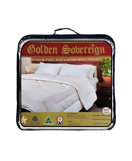Golden Sobereign Premium Pure Australian Wool Quilt 500 GSM