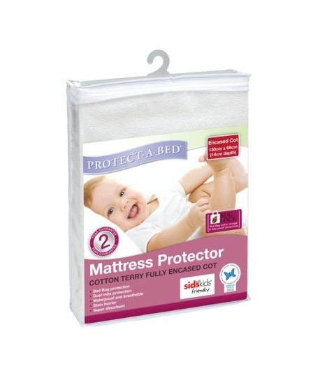 Fully Encased Cot Protector - Terry (130cm x 68cm)
