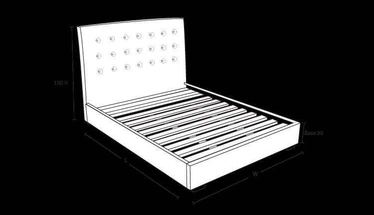 Mondo Custom Bed Frame Dimension Drawing