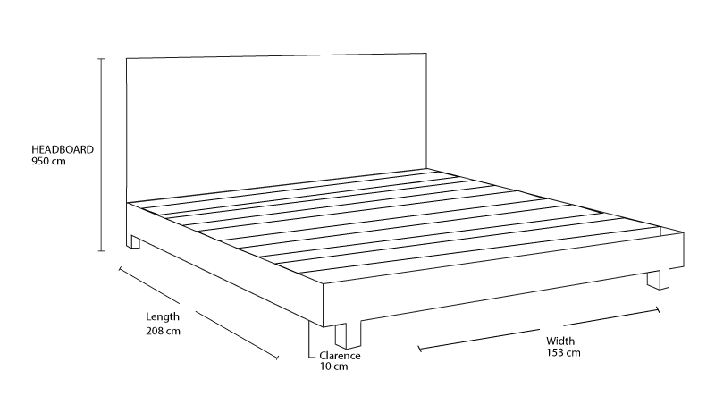 Check out the dimension drawing of Norman Custom Timber Bed Frame and measure the size