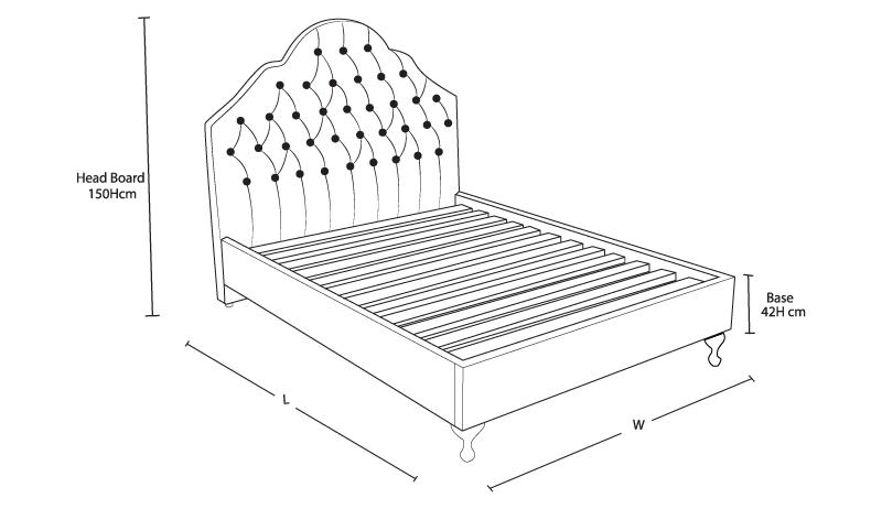 Nottingham Custom Bed with Choice of Base Dimension Drawing | Bedworks