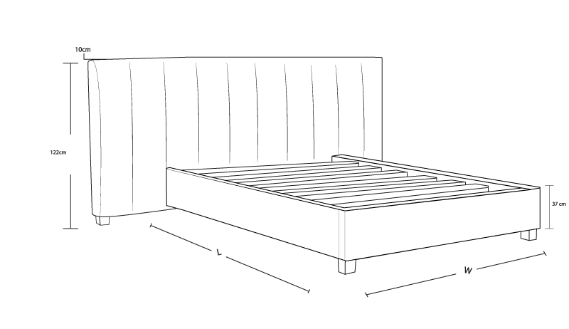 Panelled horizontal fabric frame with high headboard