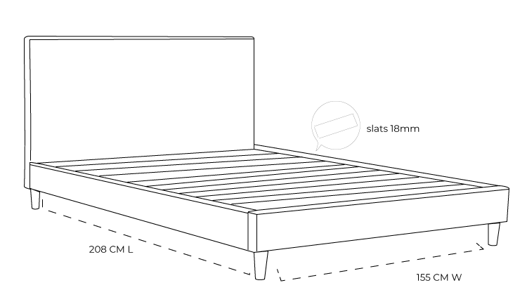 Rio Upholstered Bed Frame With Wooden Legs Dimension Drawing