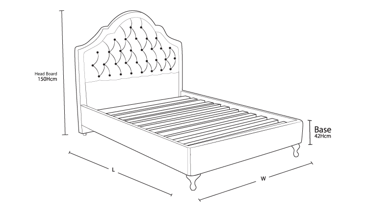 Victoria Custom Bed with Choice of Base Dimension Drawing | Bedworks