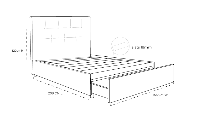 Check out the dimension drawing of Zuzuni Upholstered Slats Bed with Drawer and measure the size!