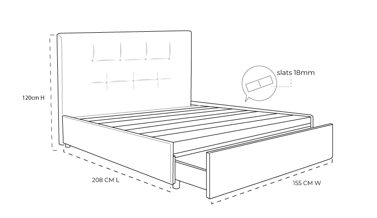 Zuzuni Upholstered Slat Bed with Drawers Dimension Drawing