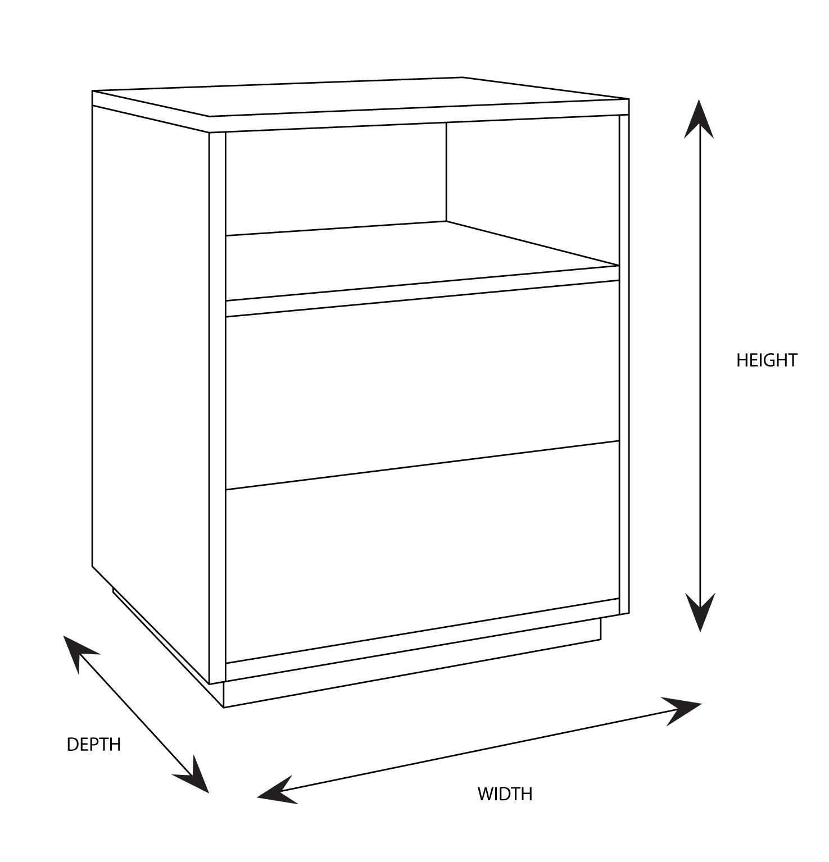 Bari Bedside Table Dimensional Drawing