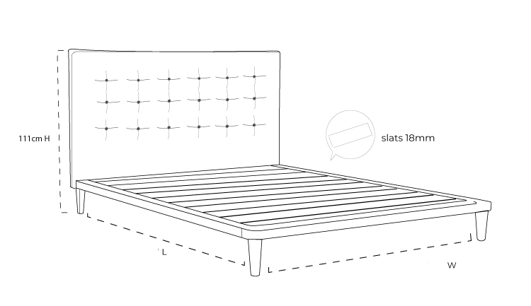 Bondi Timber Upholstered Bed Frame Dimension Drawing