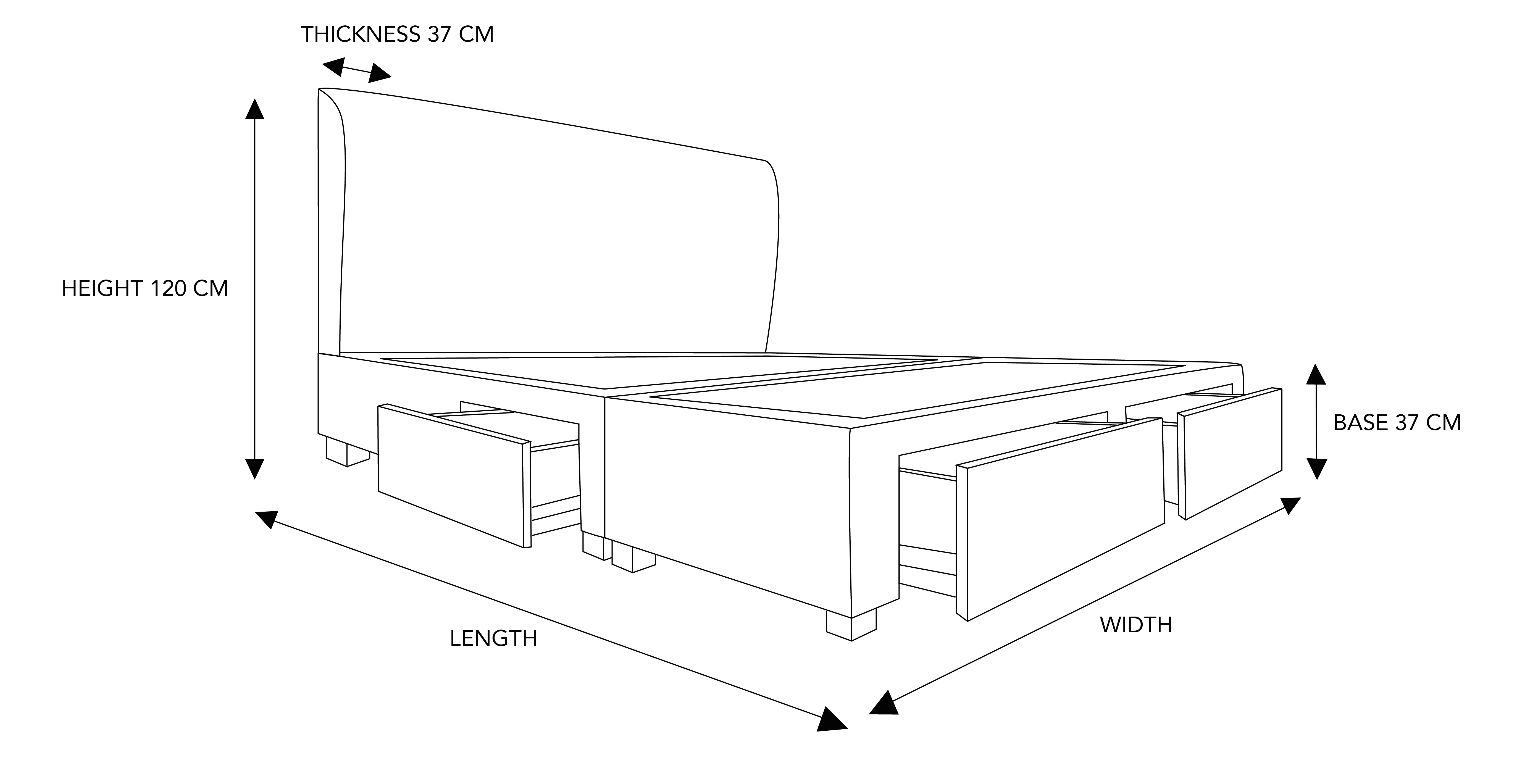 Bono Custom Storage Bed Frame Dimension Drawing - Design Your Own Bed