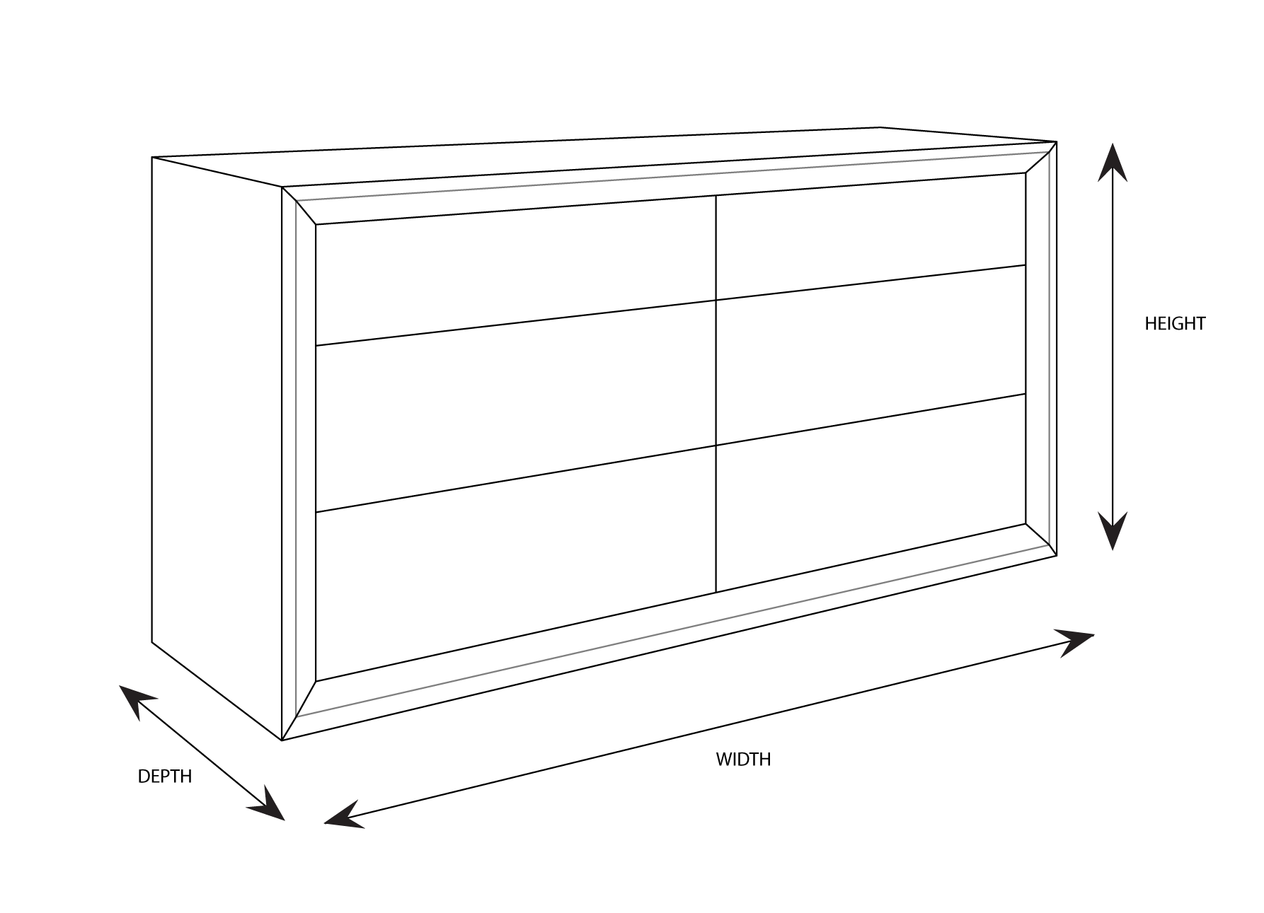 Clempton 6 Drawer Dimensional Drawing