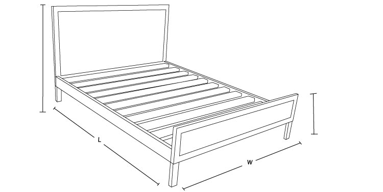Check out the Dimension Drawing of Felicia Custom Bed Frame to Measure the Size!