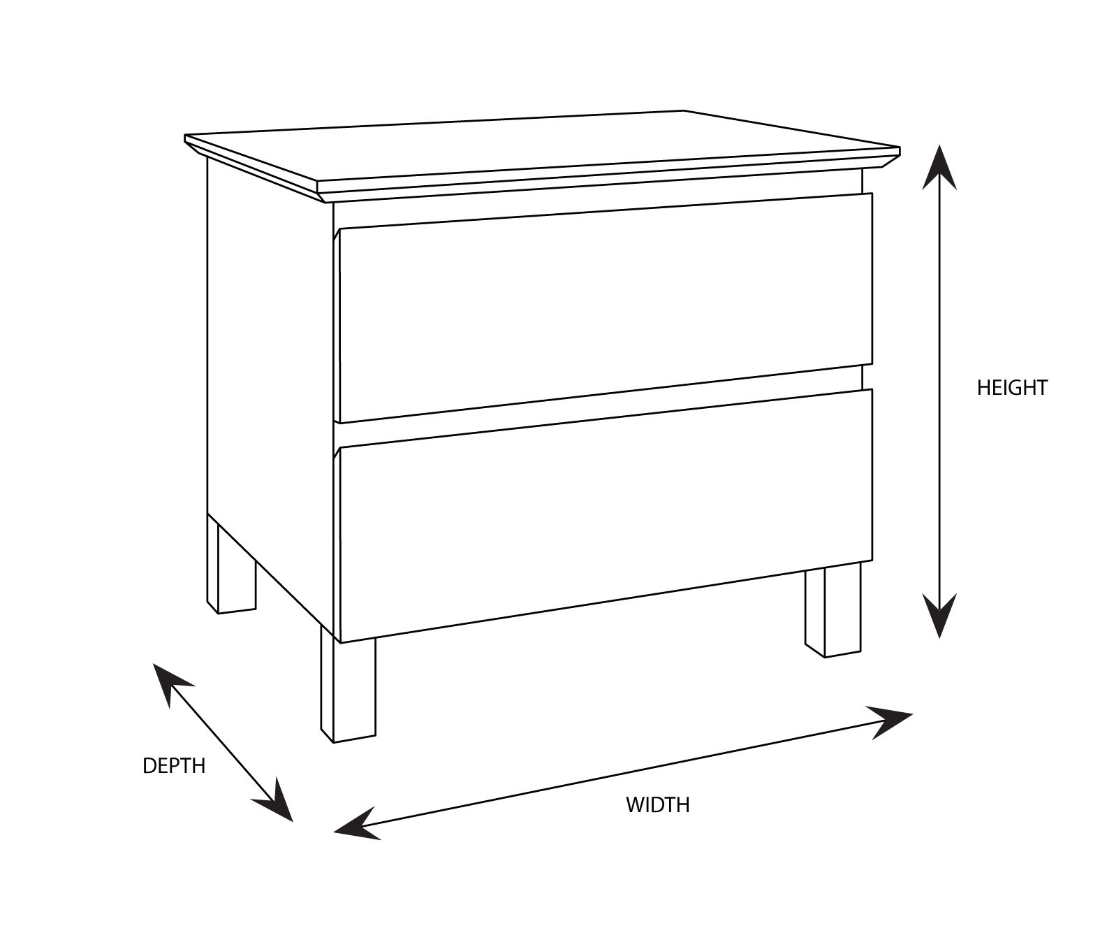 Felicia 2 Drawer Bedside Table Dimensional Drawing