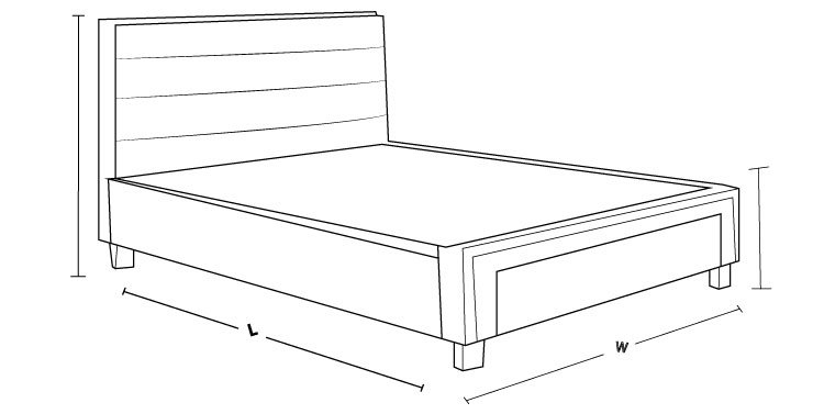 Check out the dimension drawing of Jasper Upholstered Drawer Bed and measure the size!