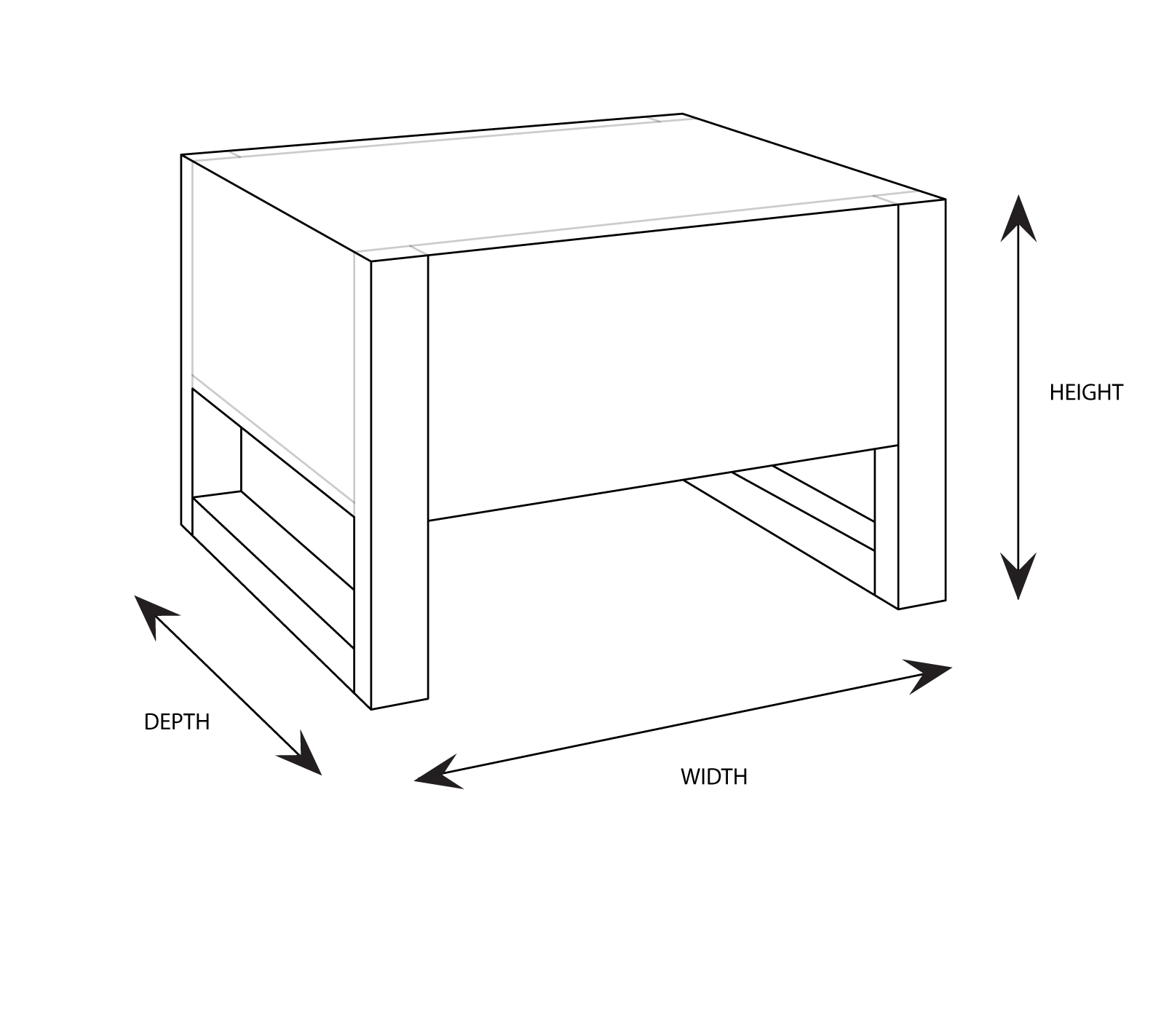Jervis Bedside Table Dimensional Drawing