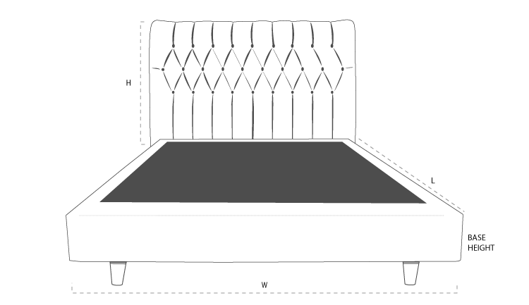Sorrento Custom Upholstered Bed Head dimension drawing