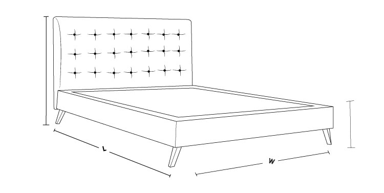 Check out our queen size Noosa Upholstered Bed with Timber Frame dimension drawing and measure the size!
