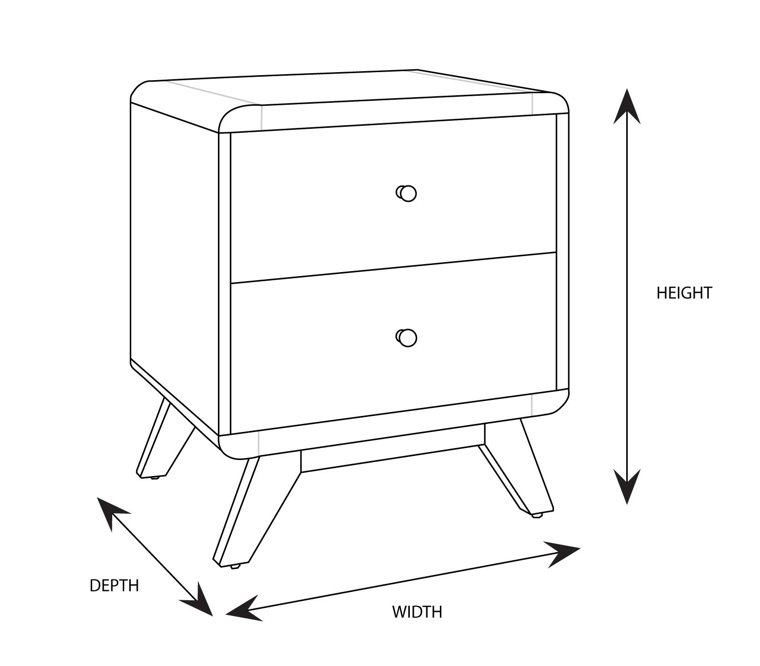 Orka Custom Timber Bedside 2 Drawer
