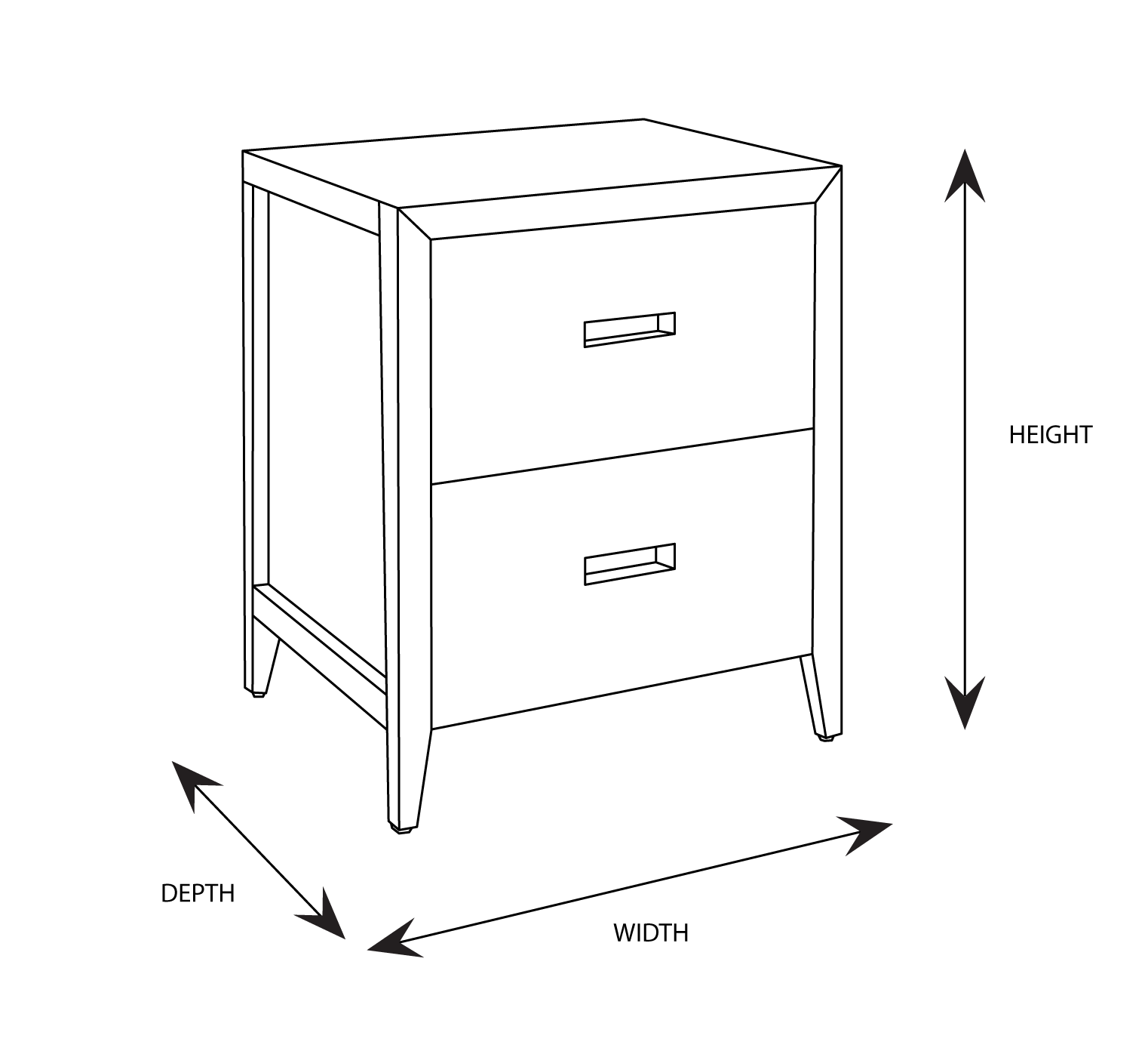 Oxford Bedside Dimensional Drawing