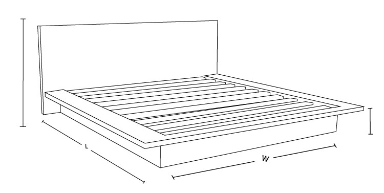 Tokyo Custom Timber Platform Bed Frame Dimension Drawing