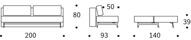 Trym Sleek Double Sofa Bed size