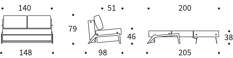Cubed 140 Sofa Bed Dimension Drawing - Innovation Living