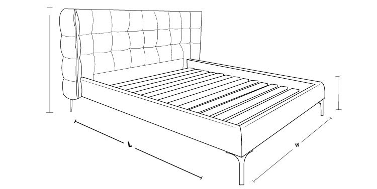 Alfi Upholstered Slat Bed Frame Dimension Drawing