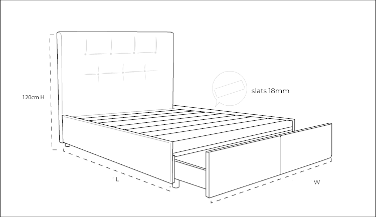 Zuzuni Fabric Bed with Drawers - Dimension Drawing