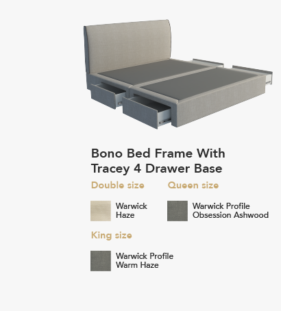 Bono Bed with Tracey 4 Drawer Base
