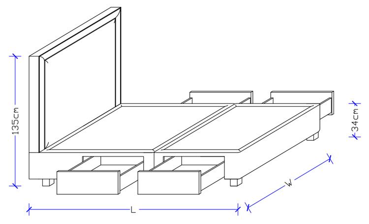 Custom made headboard with Storage Base