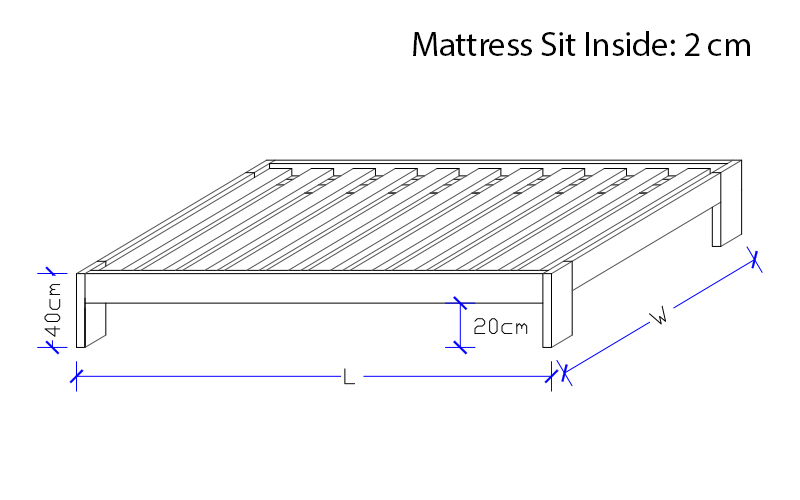 Custom made Timber Bed Frame - Dimensions