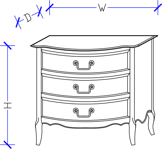 Cynthia 3 Drawers Bedside Drawing