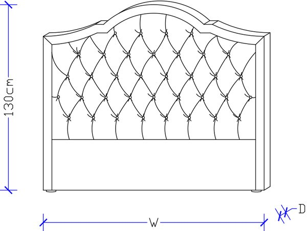 Dimension drawing for Flo custom Tufted Fabric Bed Head
