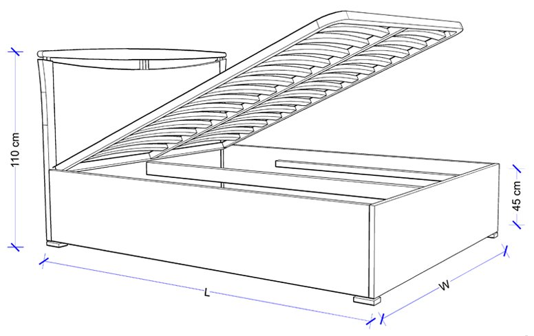 Custom Spring Lift Bed Frame - Dimensions