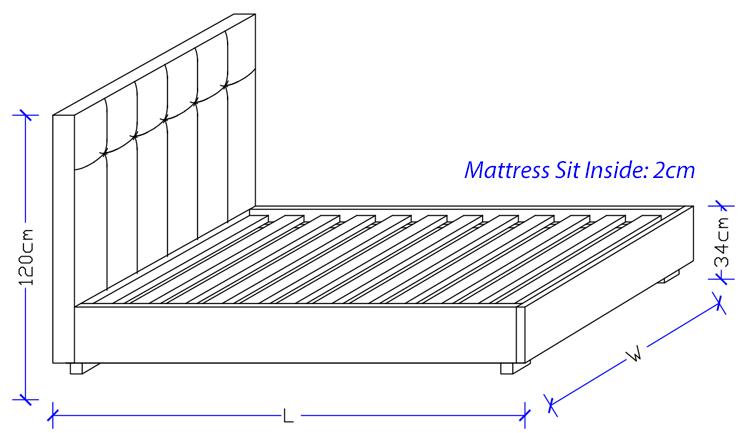 Monzar Upholstered Bed Frame - Custom Made