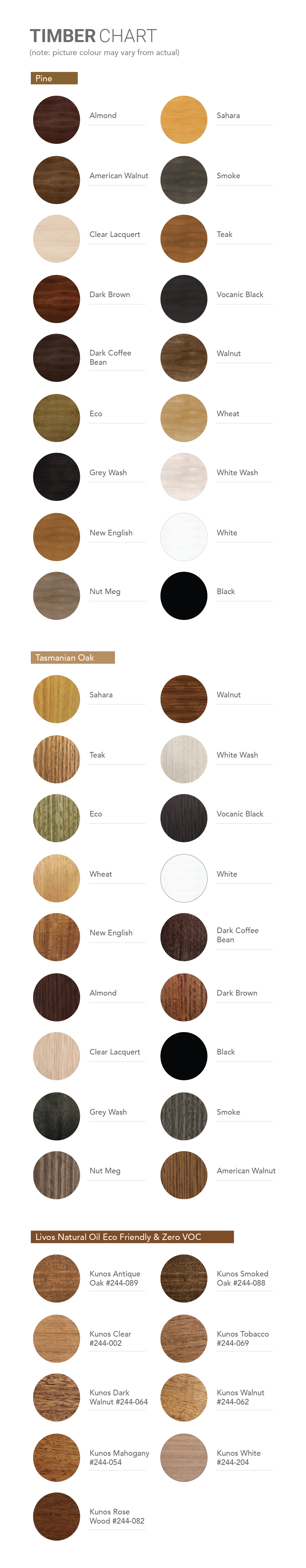Bedworks Custom Made Timber - Colour Chart